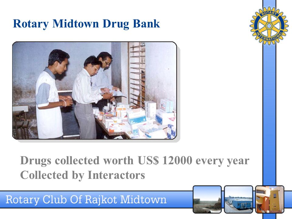 Rotary Midtown Drug Bank Drugs collected worth US$ 12000 every year Collected by Interactors