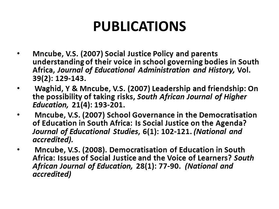 PUBLICATIONS Mncube, V.S.