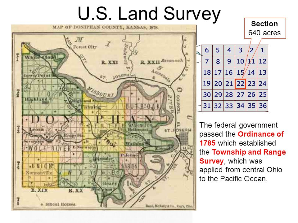 U.S. Land Survey The federal government passed the Ordinance of 1785 which established the Township and Range Survey, which was applied from central O