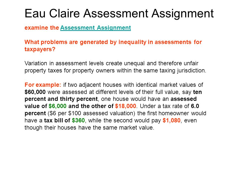 Eau Claire Assessment Assignment examine the Assessment AssignmentAssessment Assignment What problems are generated by inequality in assessments for taxpayers.