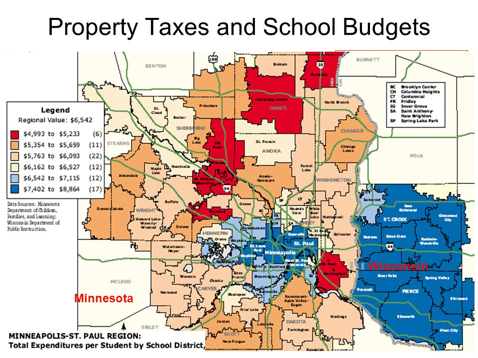 Property Taxes and School Budgets rich school district poor school district Average Family income: $80,000 Property taxes: $2,200 [more $ spent per student] Percent of income: 2.6% Average Family income: $15,000 Property taxes: $800 [less $ spend per student] Percent of income: 5.3% Solutions: 1.equal school funding per student 2.add supplemental funding: local sales taxes; state lotteries 3.replacement or augment property sources: state income taxes Is school financing constitutional.