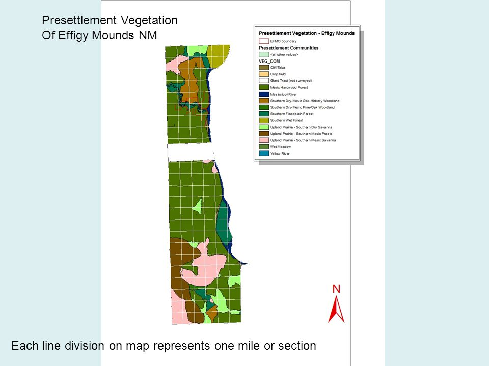Each line division on map represents one mile or section Presettlement Vegetation Of Effigy Mounds NM