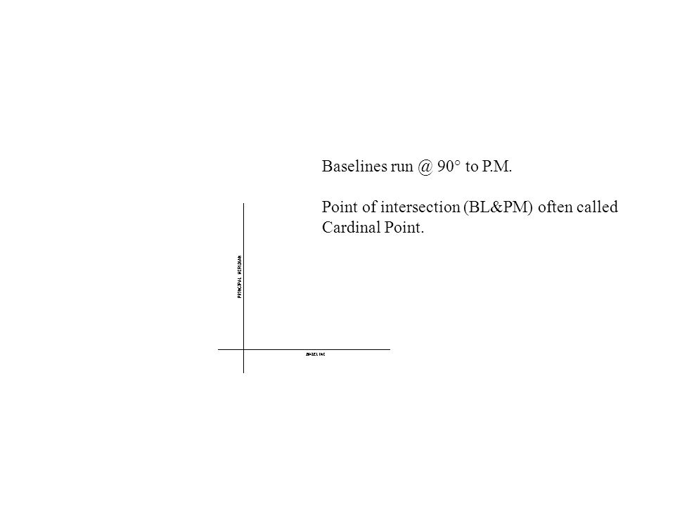 Baselines run @ 90° to P.M. Point of intersection (BL&PM) often called Cardinal Point.