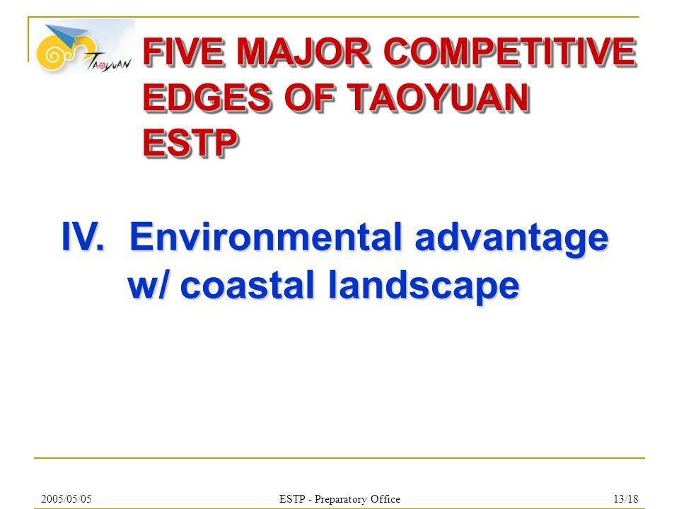 2005/05/05ESTP - Preparatory Office13/18 FIVE MAJOR COMPETITIVE EDGES OF TAOYUAN ESTP IV.