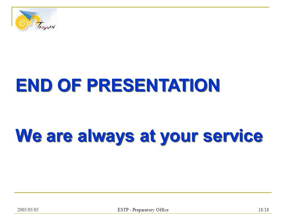 2005/05/05ESTP - Preparatory Office18/18 END OF PRESENTATION We are always at your service END OF PRESENTATION We are always at your service