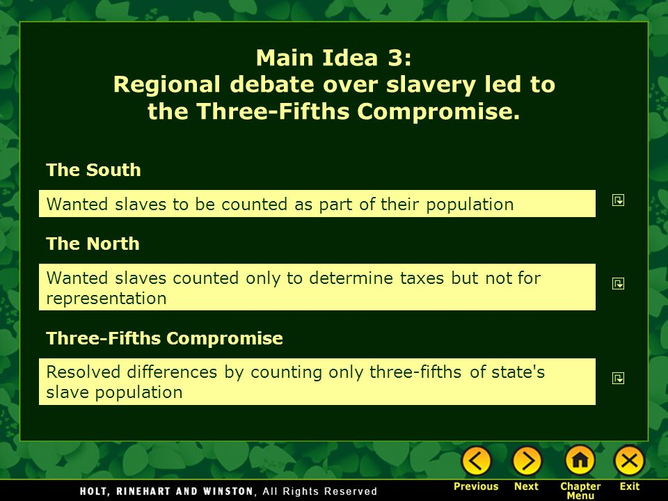 The South The North Wanted slaves to be counted as part of their population Wanted slaves counted only to determine taxes but not for representation M