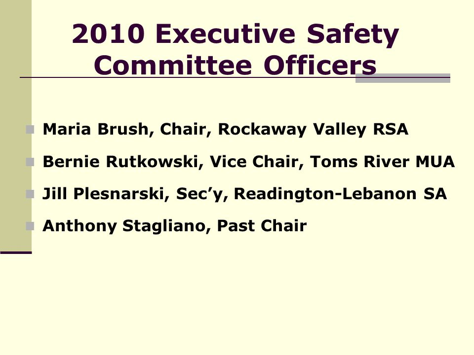 2010 Executive Safety Committee Officers Maria Brush, Chair, Rockaway Valley RSA Bernie Rutkowski, Vice Chair, Toms River MUA Jill Plesnarski, Sec'y, Readington-Lebanon SA Anthony Stagliano, Past Chair