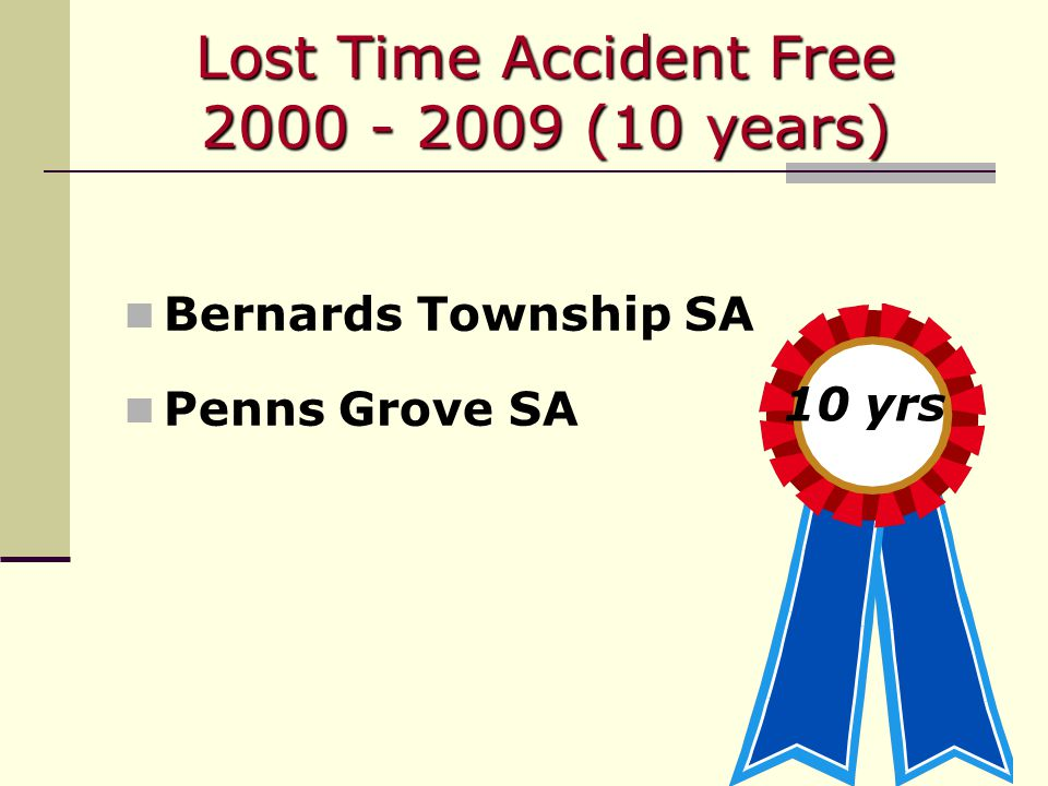 Lost Time Accident Free 2000 - 2009 (10 years) Bernards Township SA Penns Grove SA 10 yrs