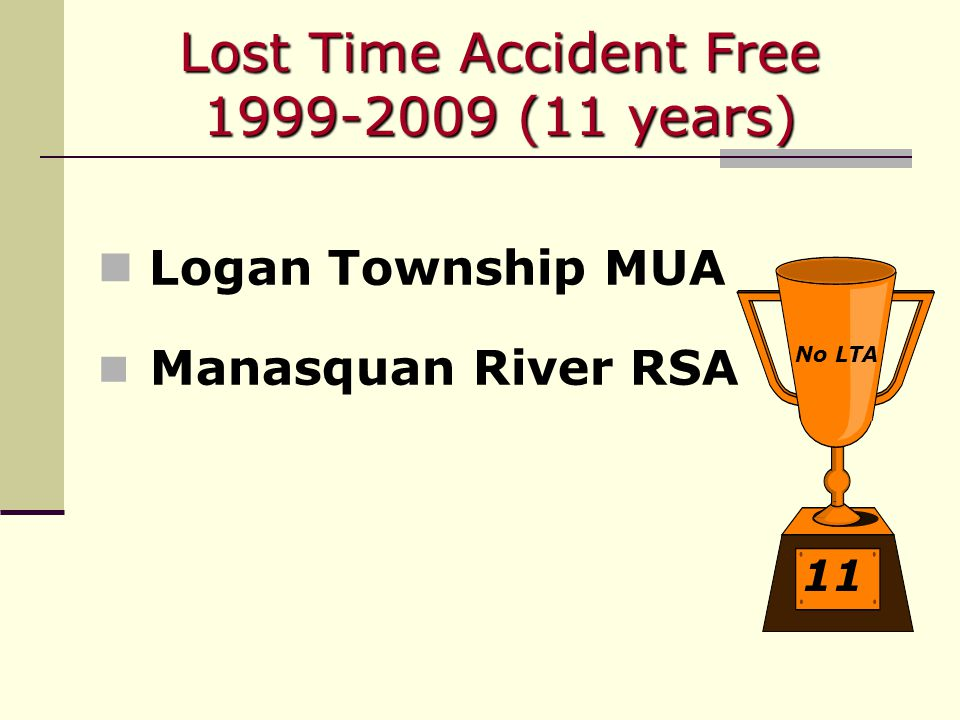 Lost Time Accident Free 1999-2009 (11 years) Logan Township MUA Manasquan River RSA 11 No LTA