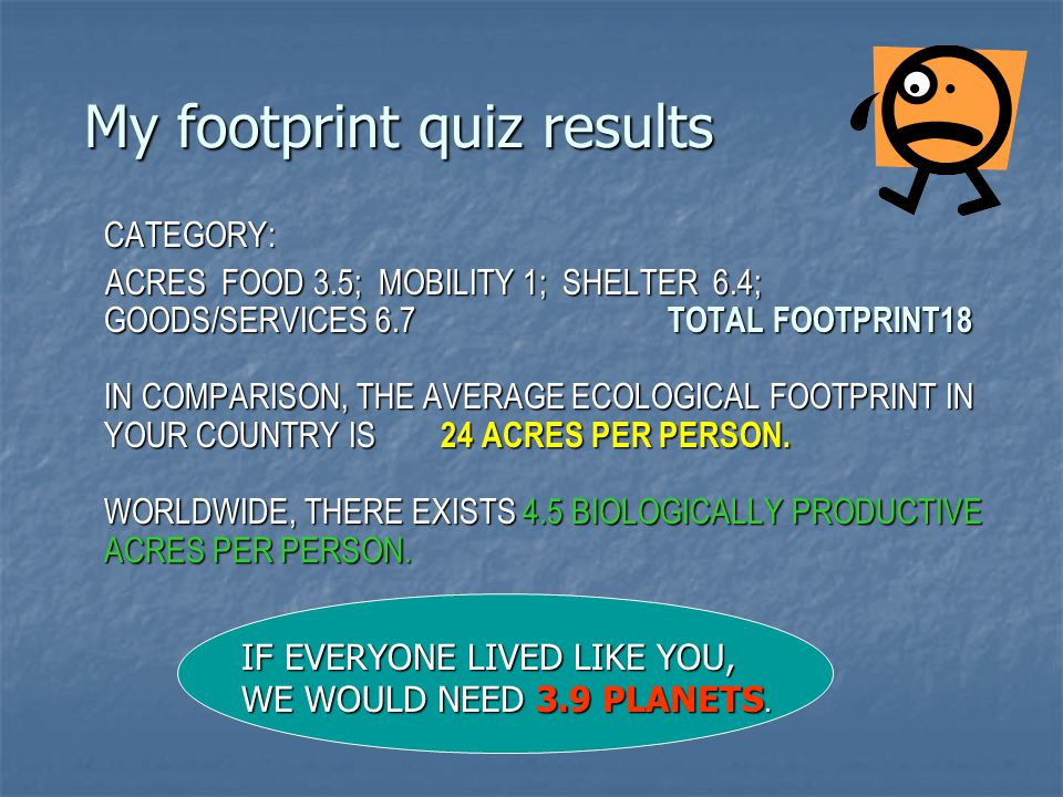 My footprint quiz results CATEGORY: CATEGORY: ACRES FOOD 3.5; MOBILITY 1; SHELTER 6.4; GOODS/SERVICES 6.7 TOTAL FOOTPRINT18 IN COMPARISON, THE AVERAGE ECOLOGICAL FOOTPRINT IN YOUR COUNTRY IS 24 ACRES PER PERSON.