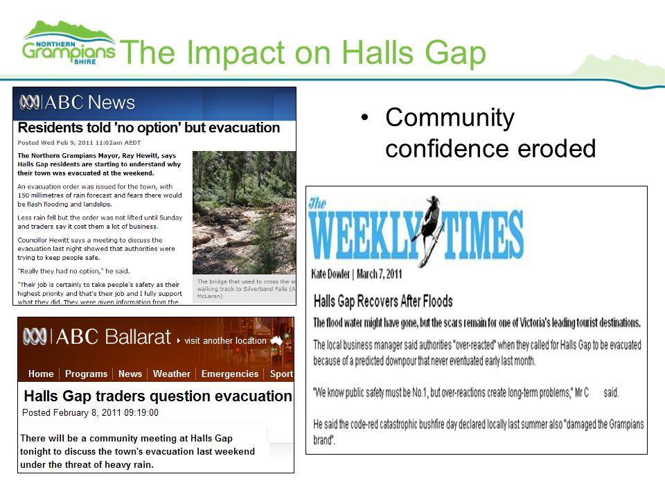 The Impact on Halls Gap Community confidence eroded
