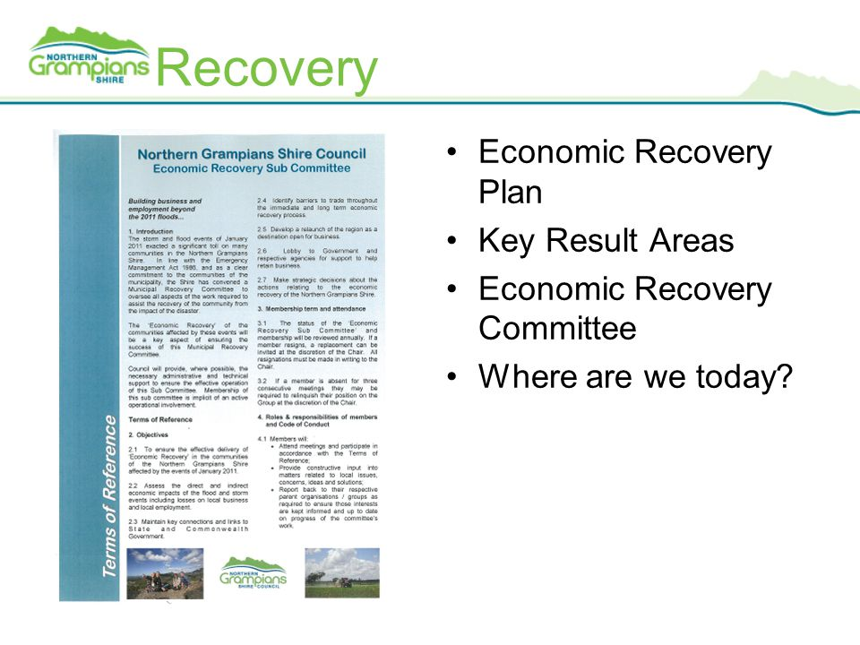 Recovery Economic Recovery Plan Key Result Areas Economic Recovery Committee Where are we today?