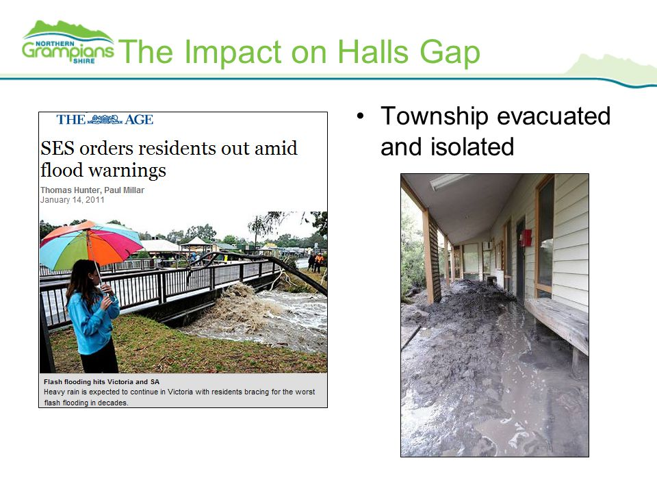 The Impact on Halls Gap Township evacuated and isolated