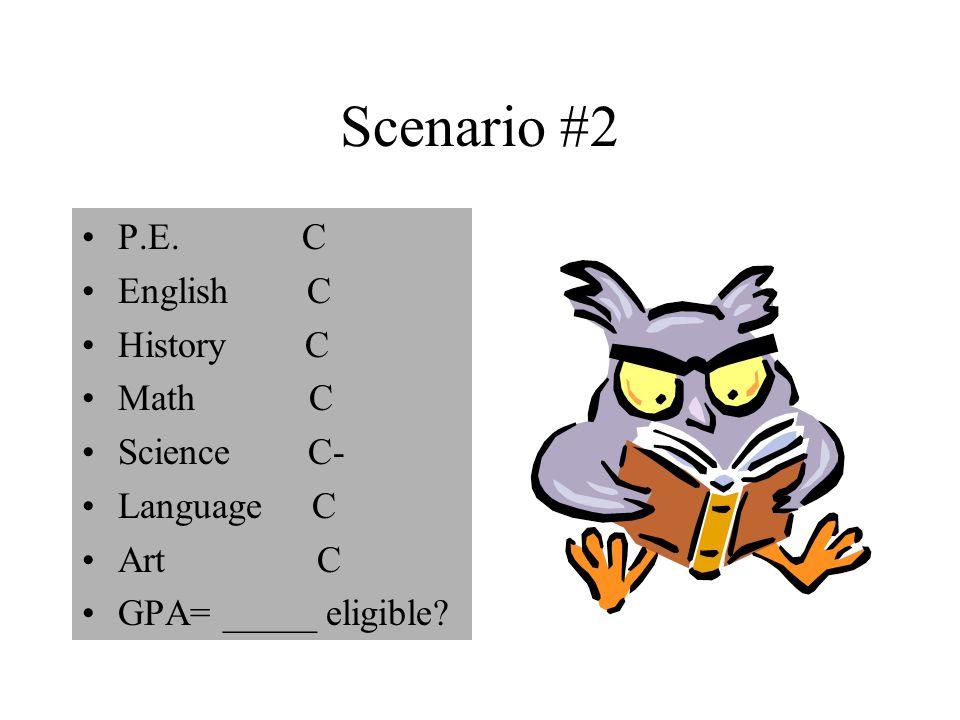 Scenario #2 P.E. C English C History C Math C Science C- Language C Art C GPA= _____ eligible