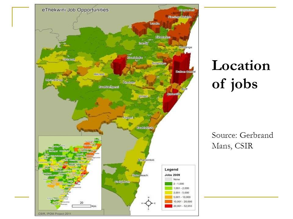 Location of jobs Source: Gerbrand Mans, CSIR