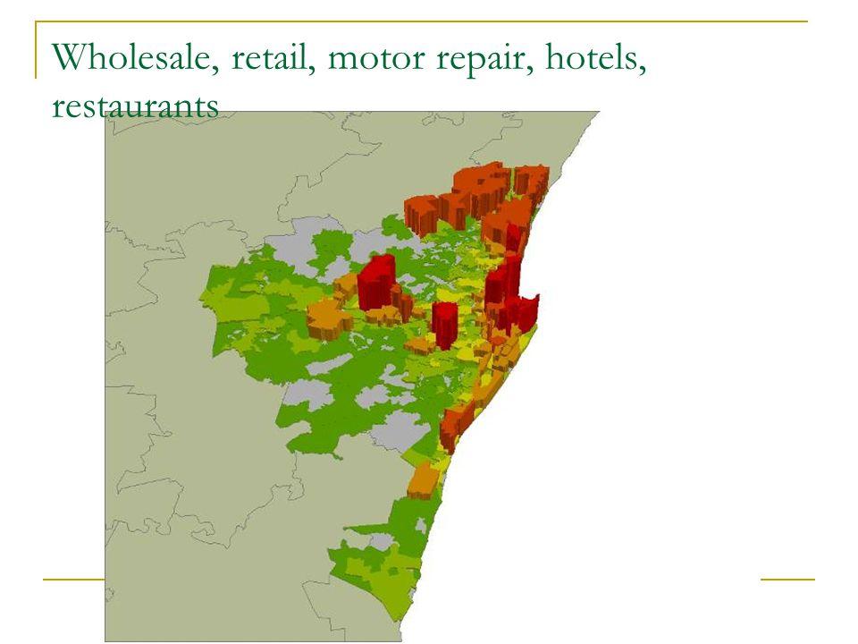 Wholesale, retail, motor repair, hotels, restaurants