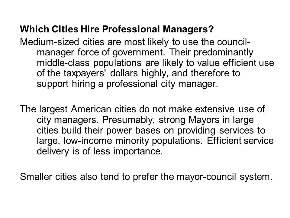 Which Cities Hire Professional Managers.