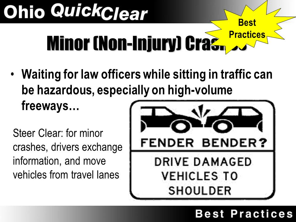 Shoulder Breakdowns Vehicles broken down or abandoned on freeway shoulder reduce capacity and create safety hazard Adopt policy to limit time vehicles