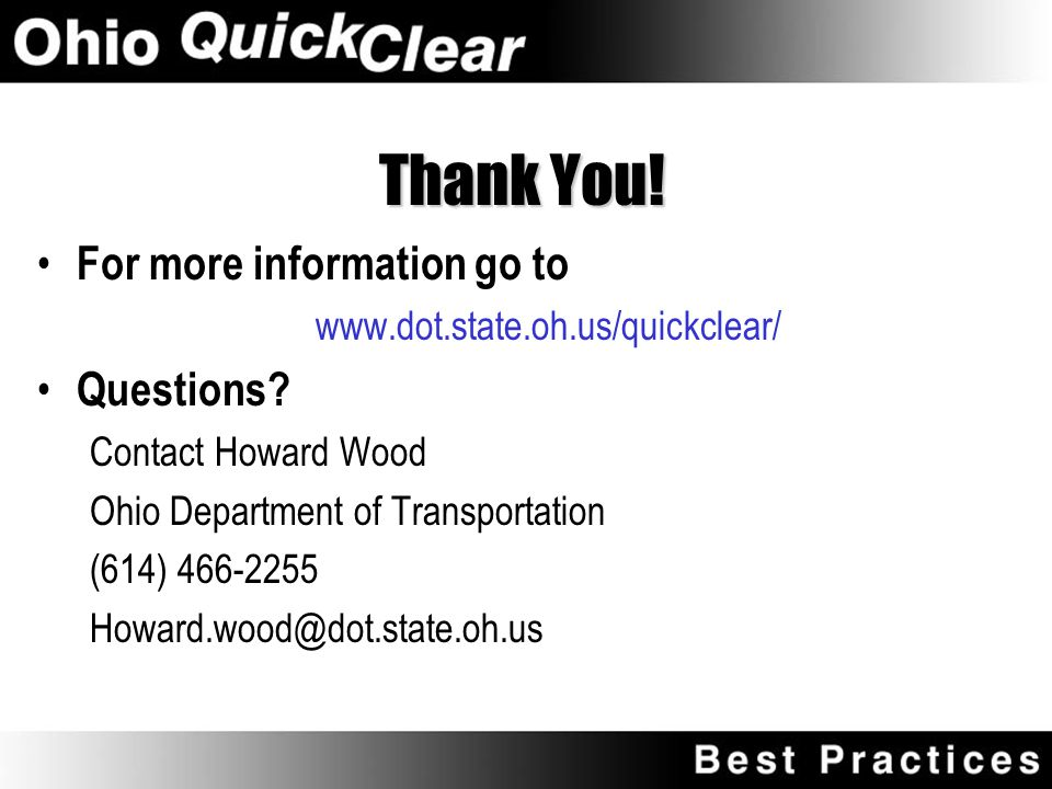 """Summary Crashes and congestion are an unfortunate fact of life Quick clearance reduces chances for secondary crashes, and reduces congestion """"Quick Cl"""