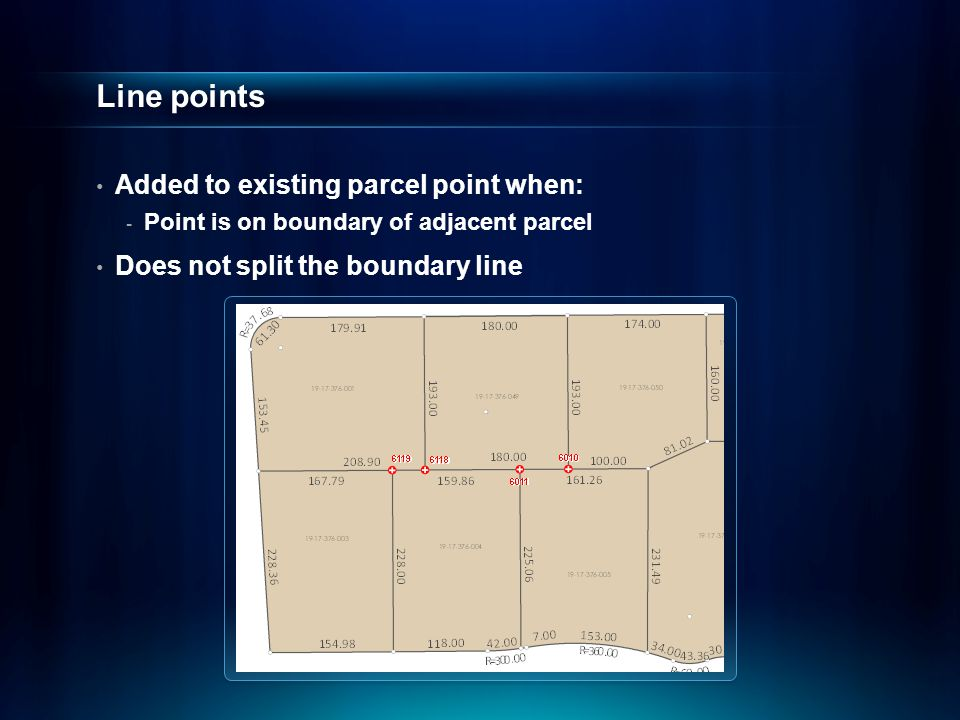 Line points Added to existing parcel point when: - Point is on boundary of adjacent parcel Does not split the boundary line