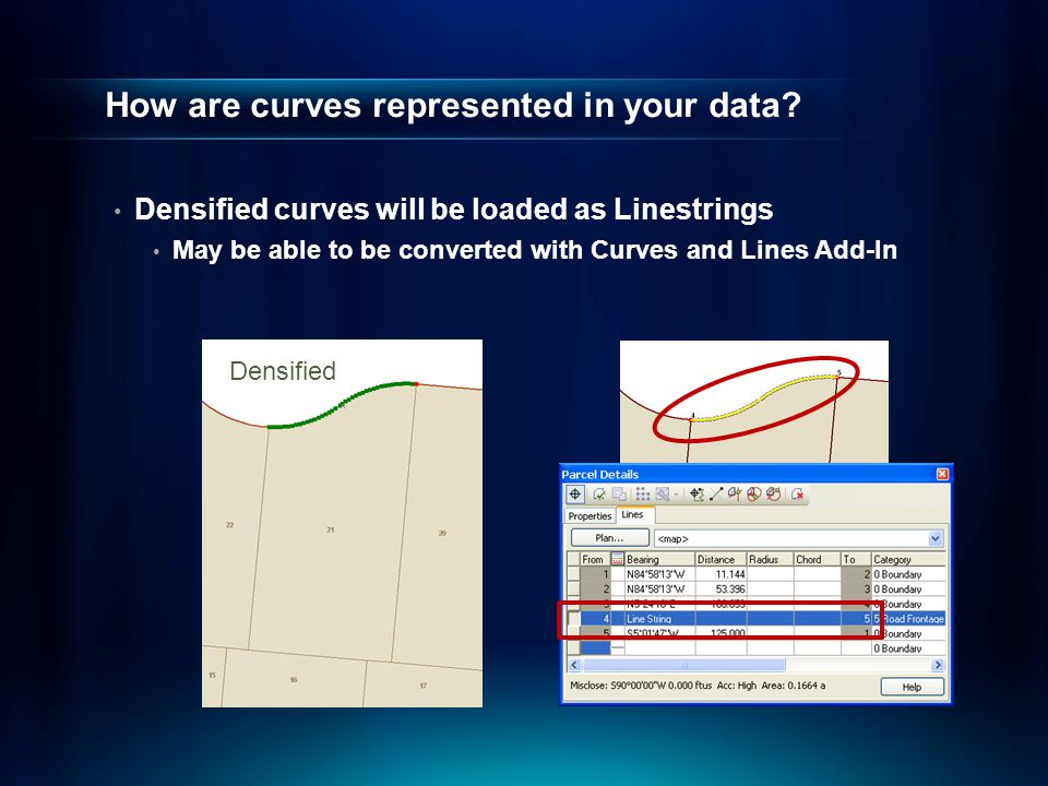 How are curves represented in your data? Densified curves will be loaded as Linestrings May be able to be converted with Curves and Lines Add-In Densi
