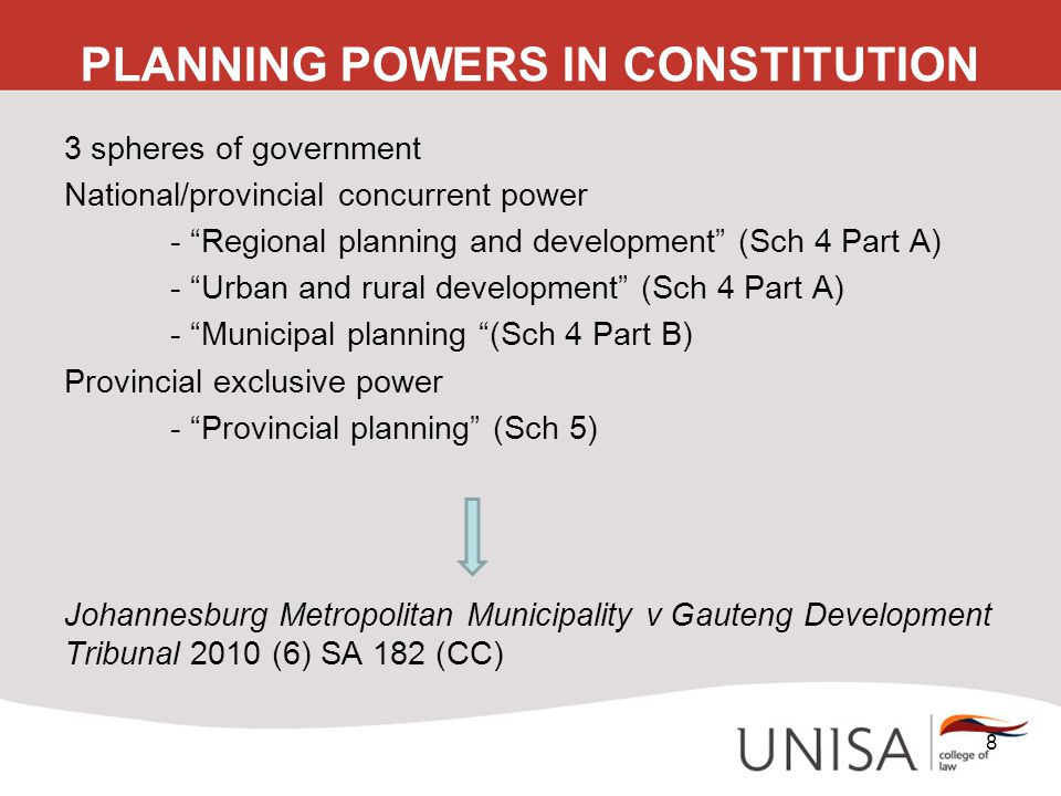 "PLANNING POWERS IN CONSTITUTION 3 spheres of government National/provincial concurrent power - ""Regional planning and development"" (Sch 4 Part A) - ""U"