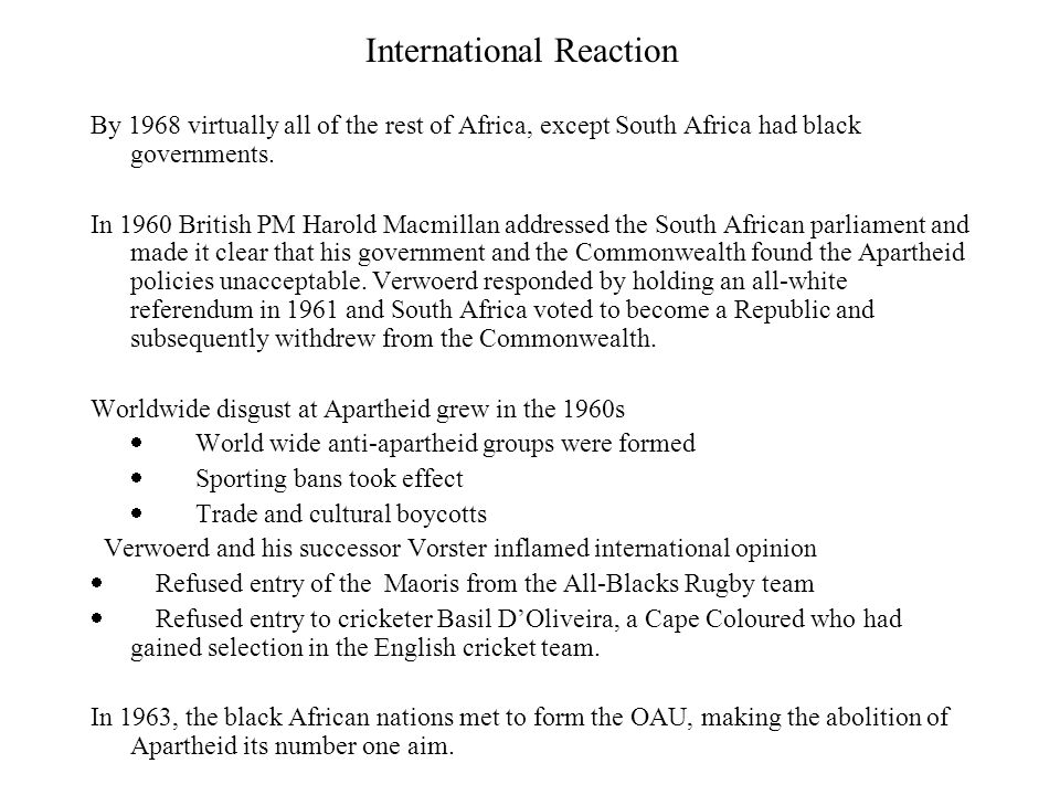 Why was the world unable the make South Africa Change.