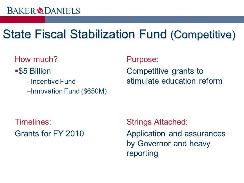 State Fiscal Stabilization Fund (Competitive) How much?  $5 Billion –Incentive Fund –Innovation Fund ($650M) Purpose: Competitive grants to stimulate