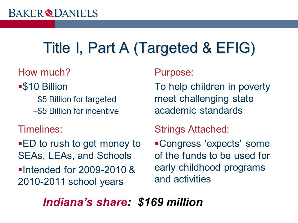 Title I, Part A (Targeted & EFIG) How much?  $10 Billion –$5 Billion for targeted –$5 Billion for incentive Purpose: To help children in poverty meet