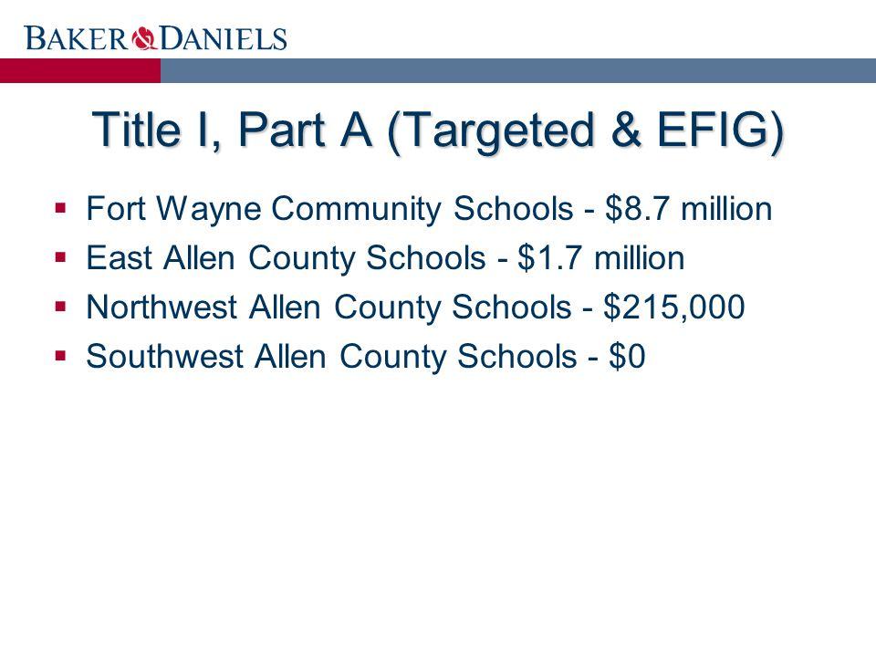 Title I, Part A (Targeted & EFIG)  Fort Wayne Community Schools - $8.7 million  East Allen County Schools - $1.7 million  Northwest Allen County Schools - $215,000  Southwest Allen County Schools - $0