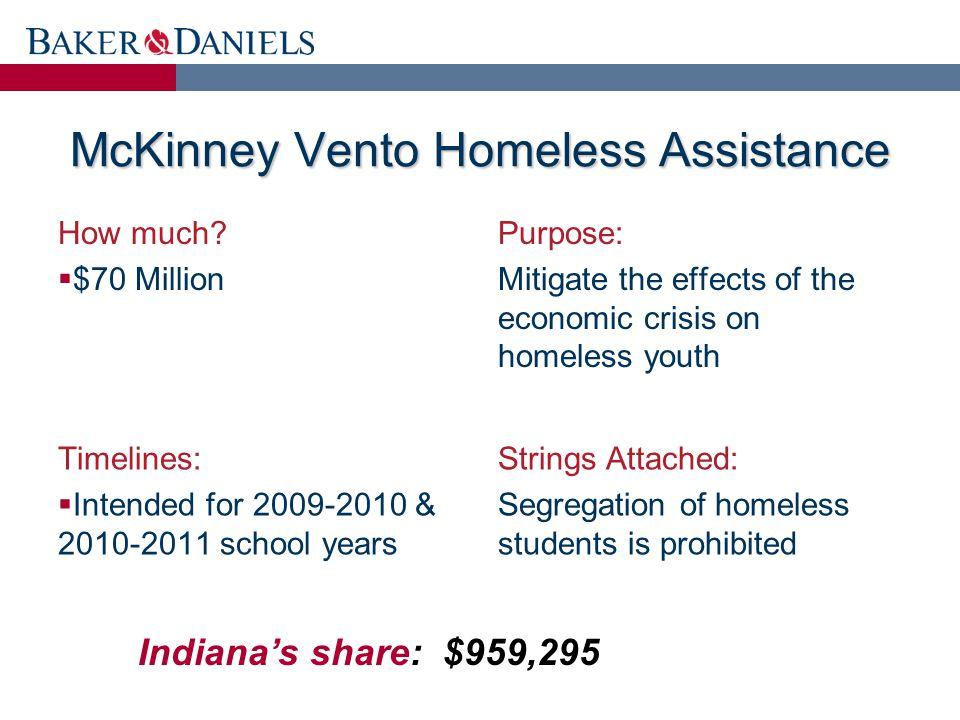 McKinney Vento Homeless Assistance How much.