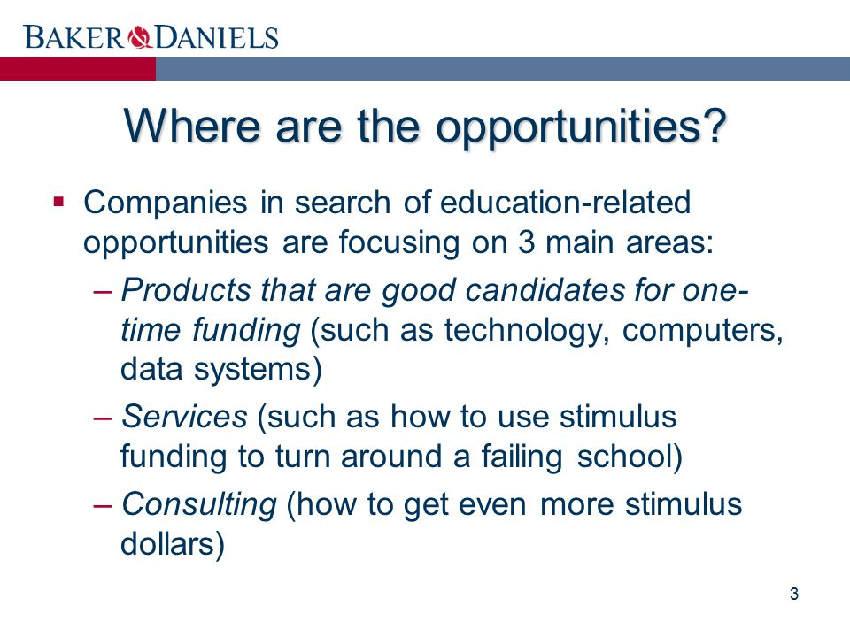 Where are the opportunities?  Companies in search of education-related opportunities are focusing on 3 main areas: –Products that are good candidates