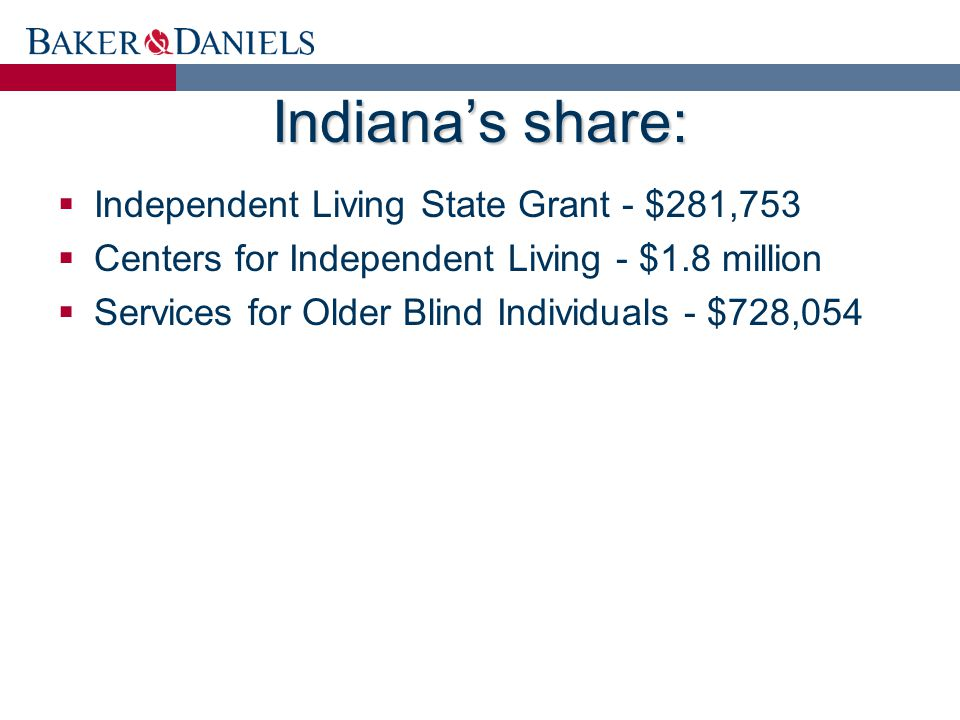 Indiana's share:  Independent Living State Grant - $281,753  Centers for Independent Living - $1.8 million  Services for Older Blind Individuals - $728,054