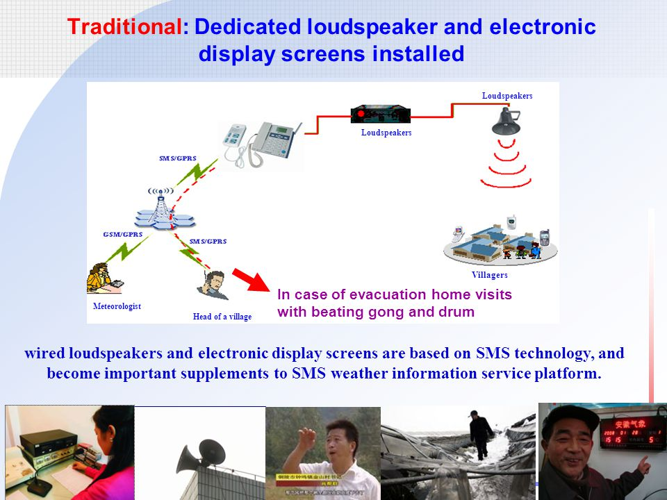 中国气象局 中国气象局 China Meteorological Administration Traditional: Dedicated loudspeaker and electronic display screens installed In case of evacuation home visits with beating gong and drum wired loudspeakers and electronic display screens are based on SMS technology, and become important supplements to SMS weather information service platform.