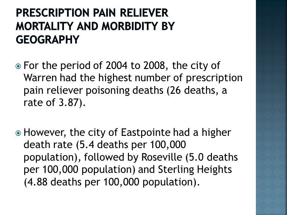  For the period of 2004 to 2008, the city of Warren had the highest number of prescription pain reliever poisoning deaths (26 deaths, a rate of 3.87).