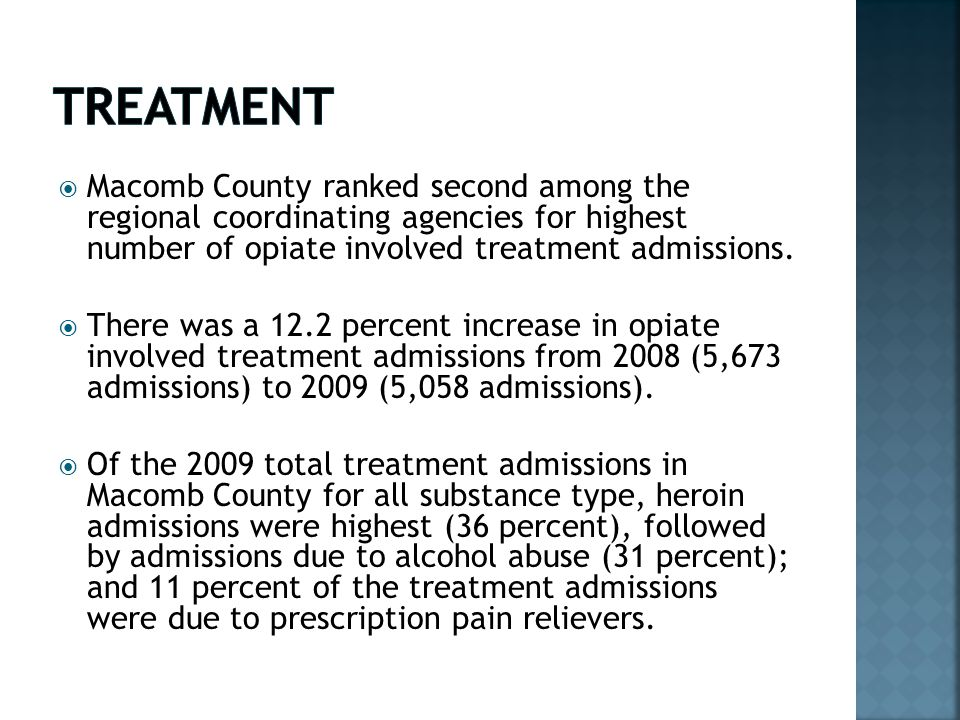  Macomb County ranked second among the regional coordinating agencies for highest number of opiate involved treatment admissions.