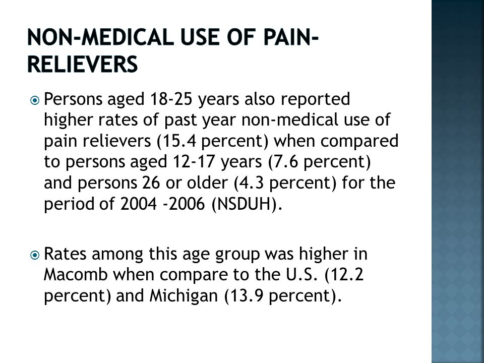  Persons aged 18-25 years also reported higher rates of past year non-medical use of pain relievers (15.4 percent) when compared to persons aged 12-17 years (7.6 percent) and persons 26 or older (4.3 percent) for the period of 2004 -2006 (NSDUH).