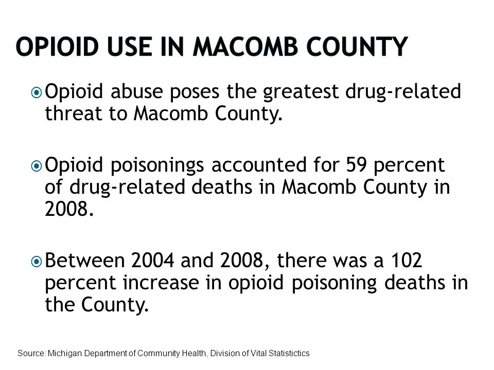  Opioid abuse poses the greatest drug-related threat to Macomb County.