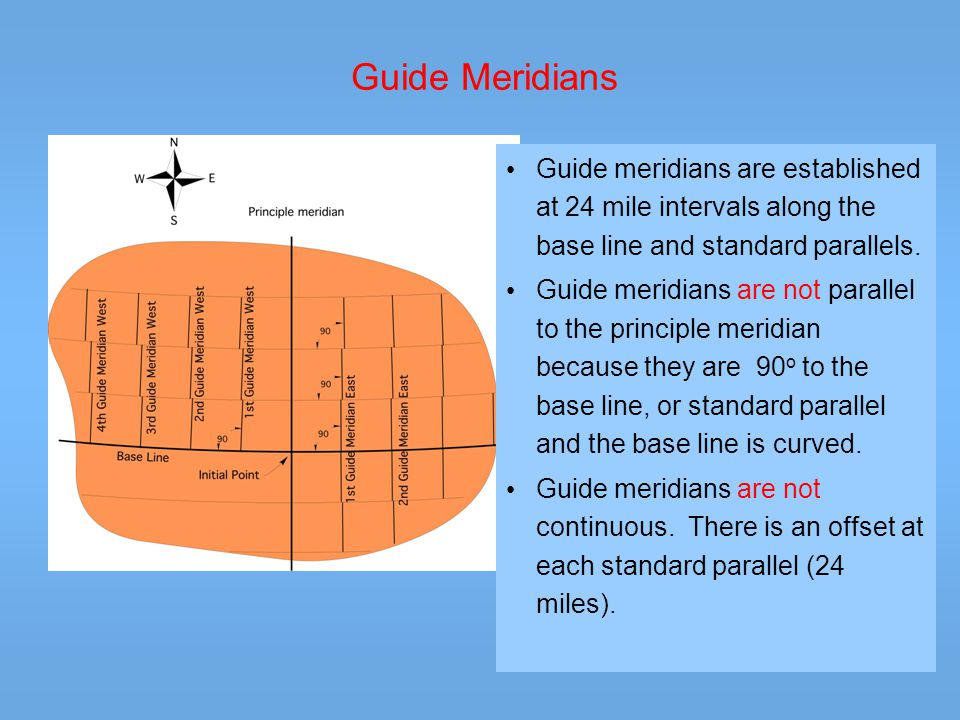 Guide Meridians Guide meridians are established at 24 mile intervals along the base line and standard parallels.
