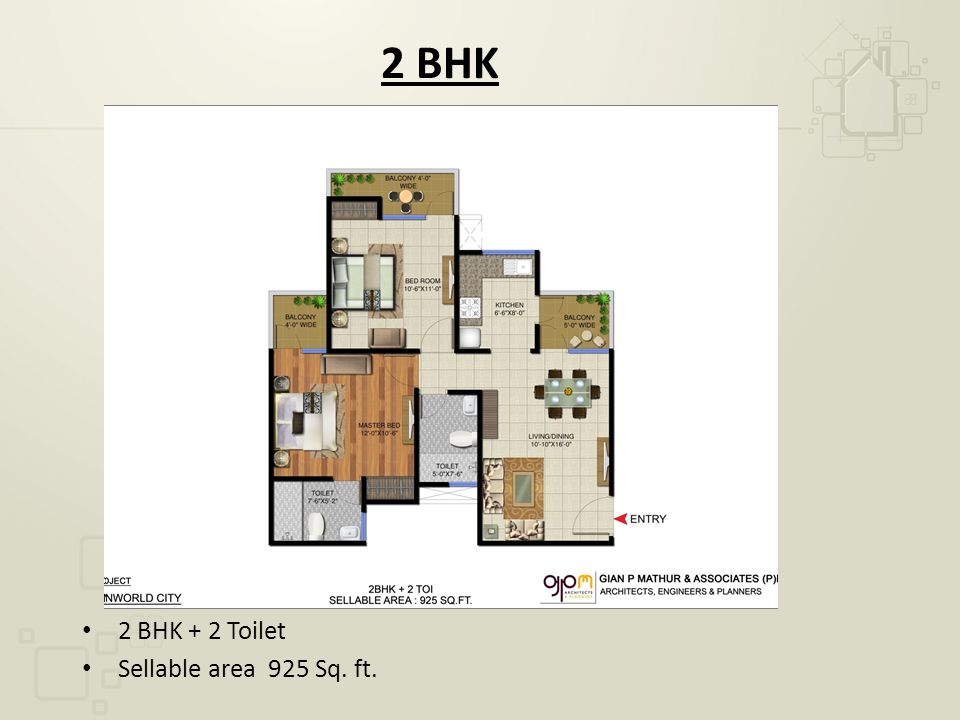 2 BHK 2 BHK + 2 Toilet Sellable area 925 Sq. ft.