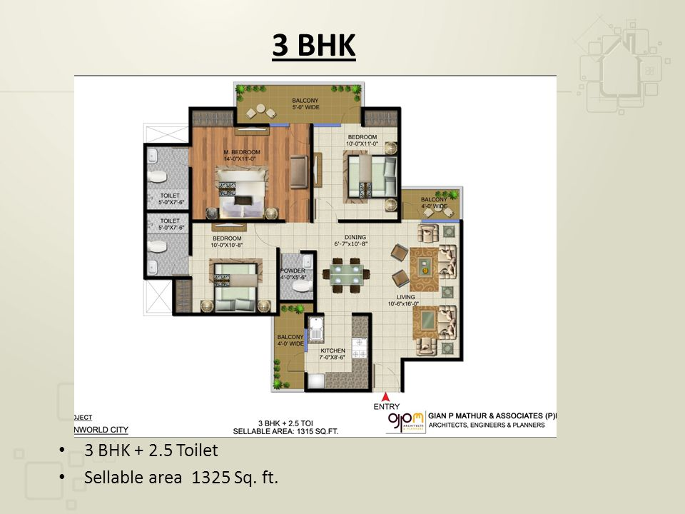 3 BHK 3 BHK + 2.5 Toilet Sellable area 1325 Sq. ft.