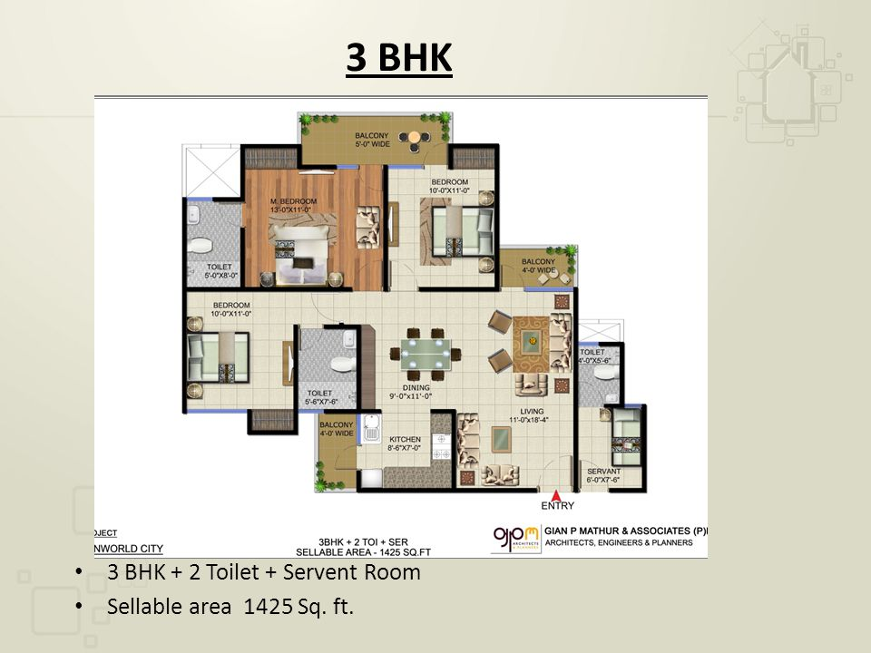 3 BHK 3 BHK + 2 Toilet + Servent Room Sellable area 1425 Sq. ft.