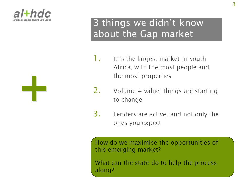 3 3 things we didn't know about the Gap market 1. It is the largest market in South Africa, with the most people and the most properties 2. Volume + v