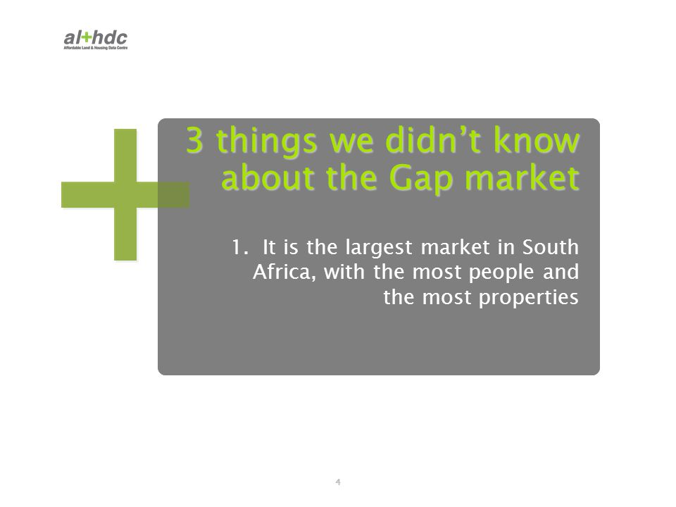 4 3 things we didn't know about the Gap market 1. It is the largest market in South Africa, with the most people and the most properties