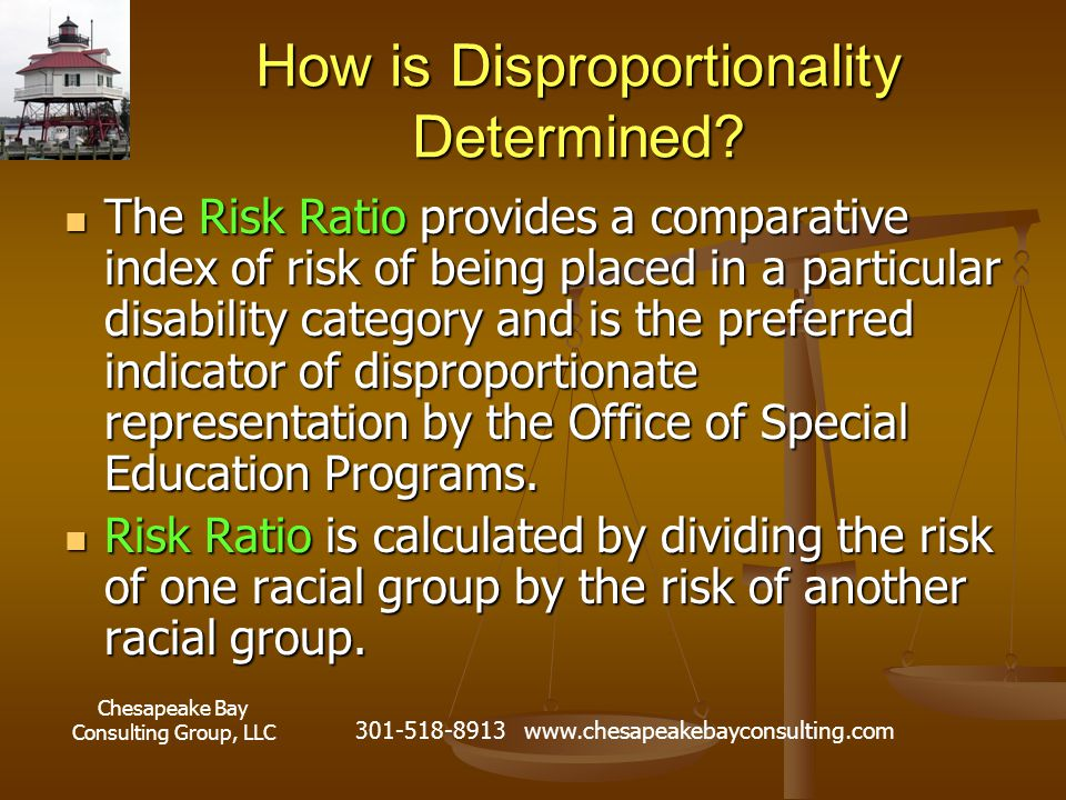 Chesapeake Bay Consulting Group, LLC 301-518-8913 www.chesapeakebayconsulting.com How is Disproportionality Determined.