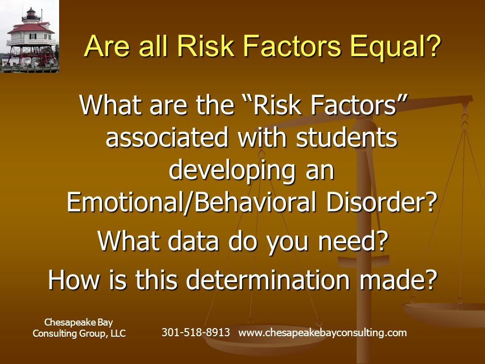 """Chesapeake Bay Consulting Group, LLC 301-518-8913 www.chesapeakebayconsulting.com Are all Risk Factors Equal? What are the """"Risk Factors"""" associated w"""