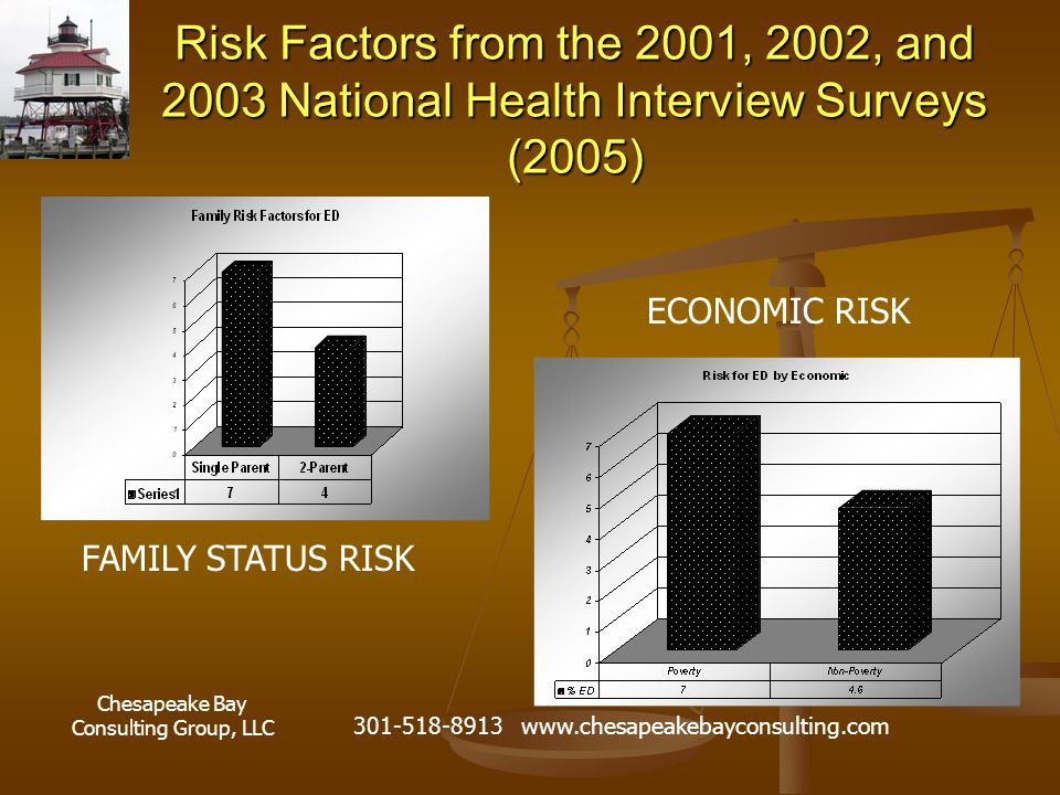 Chesapeake Bay Consulting Group, LLC 301-518-8913 www.chesapeakebayconsulting.com Risk Factors from the 2001, 2002, and 2003 National Health Interview Surveys (2005) ECONOMIC RISK FAMILY STATUS RISK
