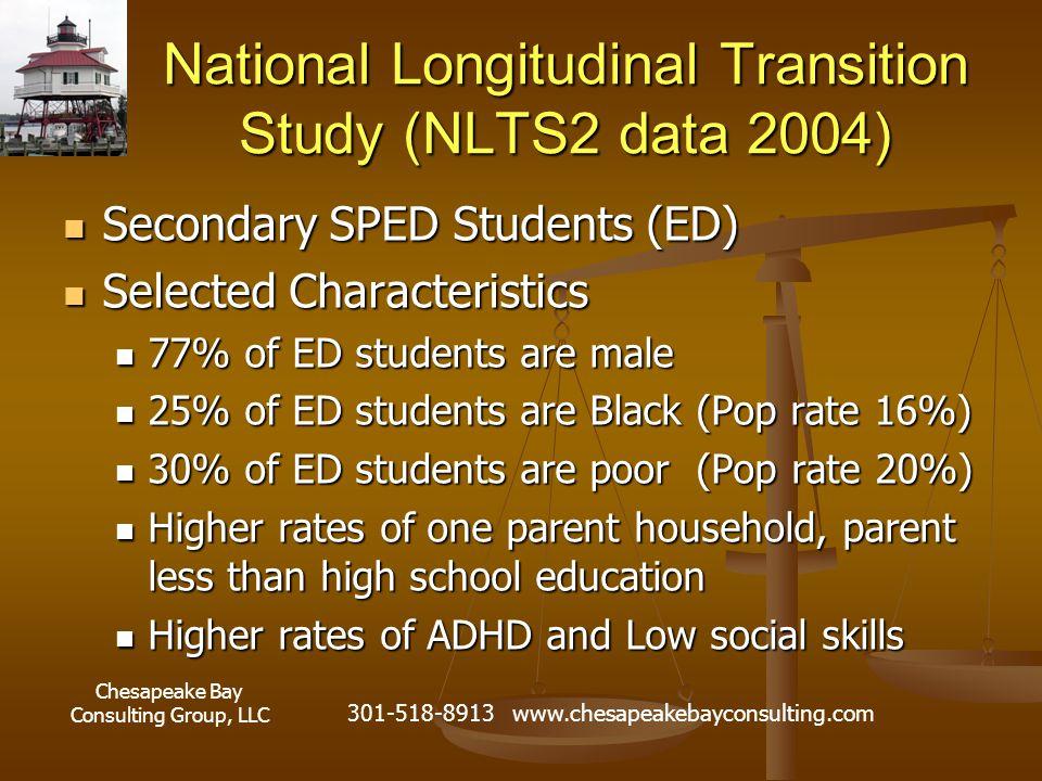 Chesapeake Bay Consulting Group, LLC 301-518-8913 www.chesapeakebayconsulting.com National Longitudinal Transition Study (NLTS2 data 2004) Secondary S