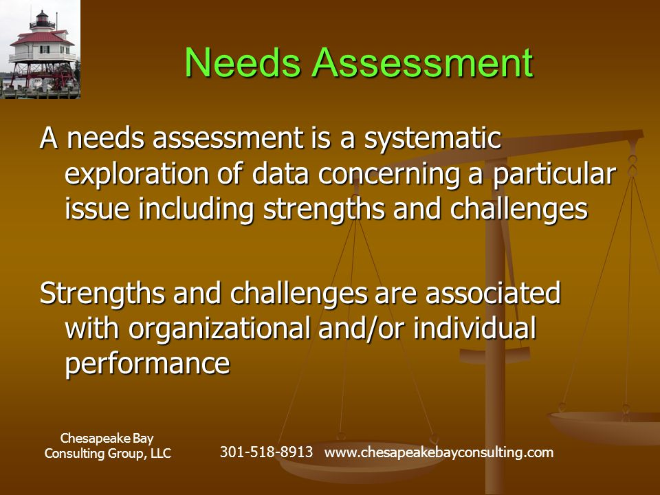 Chesapeake Bay Consulting Group, LLC 301-518-8913 www.chesapeakebayconsulting.com Needs Assessment A needs assessment is a systematic exploration of data concerning a particular issue including strengths and challenges Strengths and challenges are associated with organizational and/or individual performance