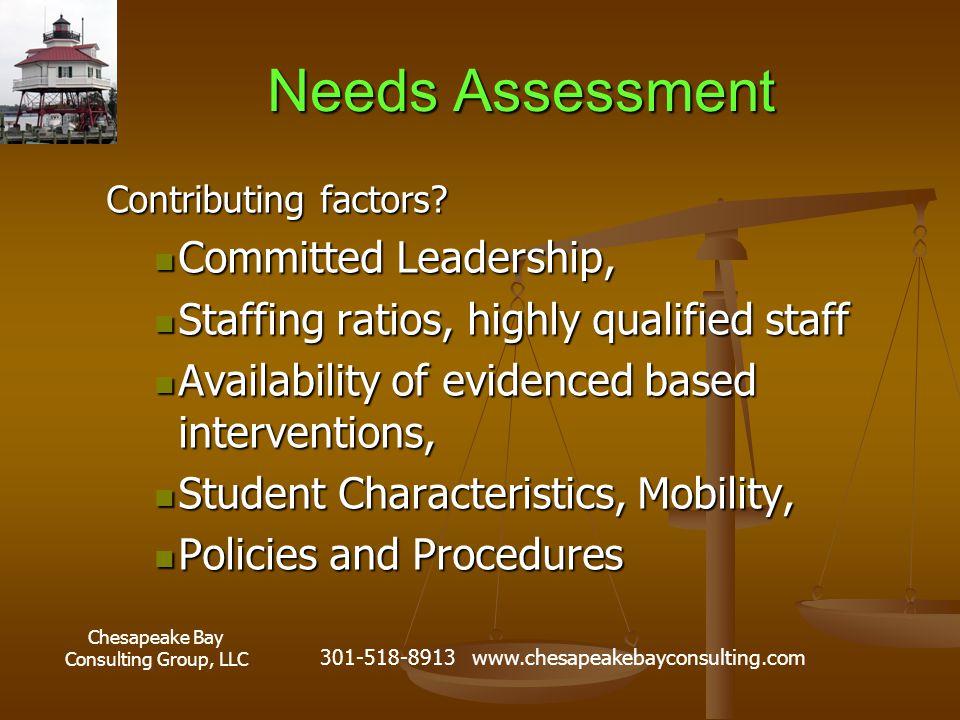 Chesapeake Bay Consulting Group, LLC 301-518-8913 www.chesapeakebayconsulting.com Needs Assessment Contributing factors.